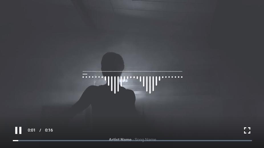 一个最小的音频可视化设计,带有向下的动画和标语