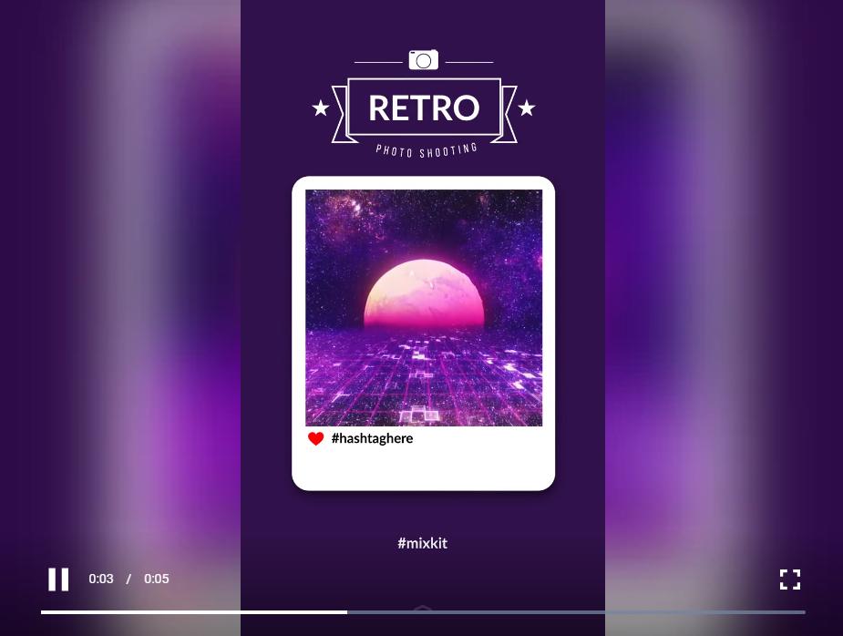 Instagram 的复古风格故事,带有视频框、心形图标和标语